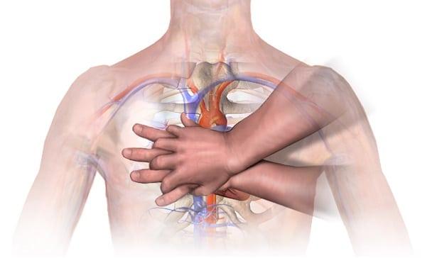 Позиция на ръцете при непряк сърдечен масаж