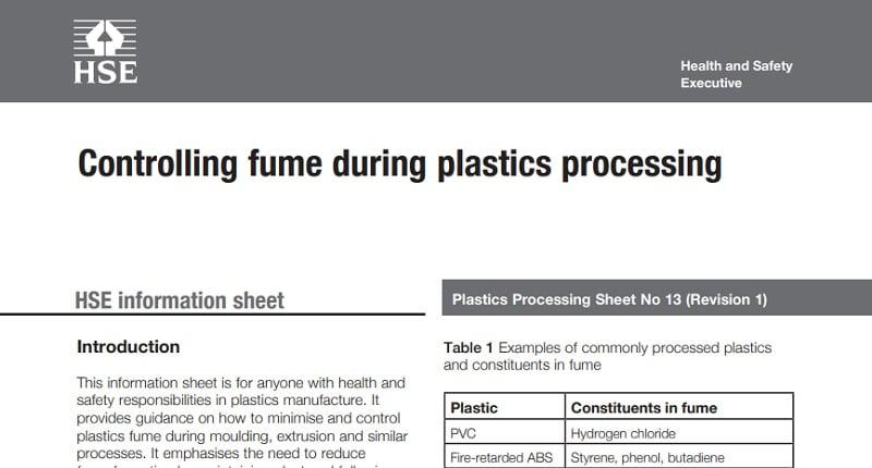 Контрол на отделящите се изпарения по време при обработка на пластмаси